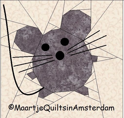 Maartje Quilt in Amsterdam: 4 free Mice paper piecing patterns. very cute