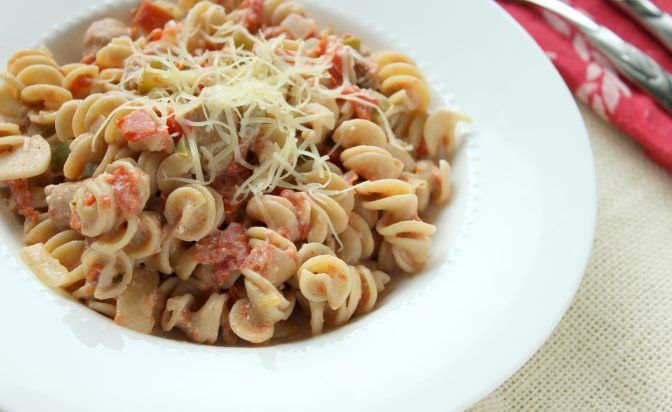creamy sausage sourdough pasta recipe with Kaslo sourdough pasta