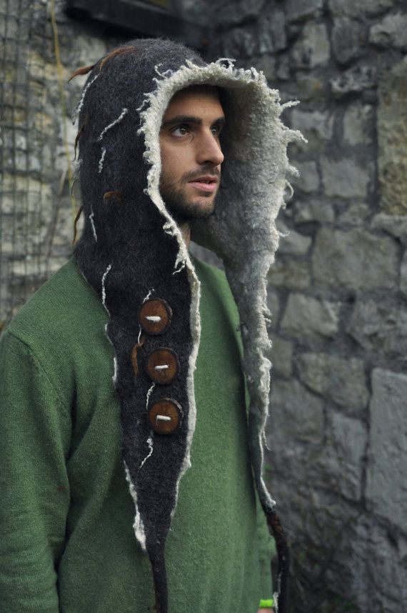 Hood hooded scarf felt snood ' Button up BEAST' by Innerspiral