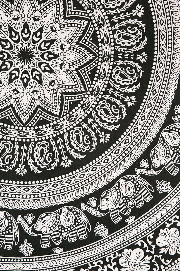 Black and White Bohemian Tapestry Elephant Mandala Hippie Indian Wall, Beach, Bedspread Bohemian Tapestry