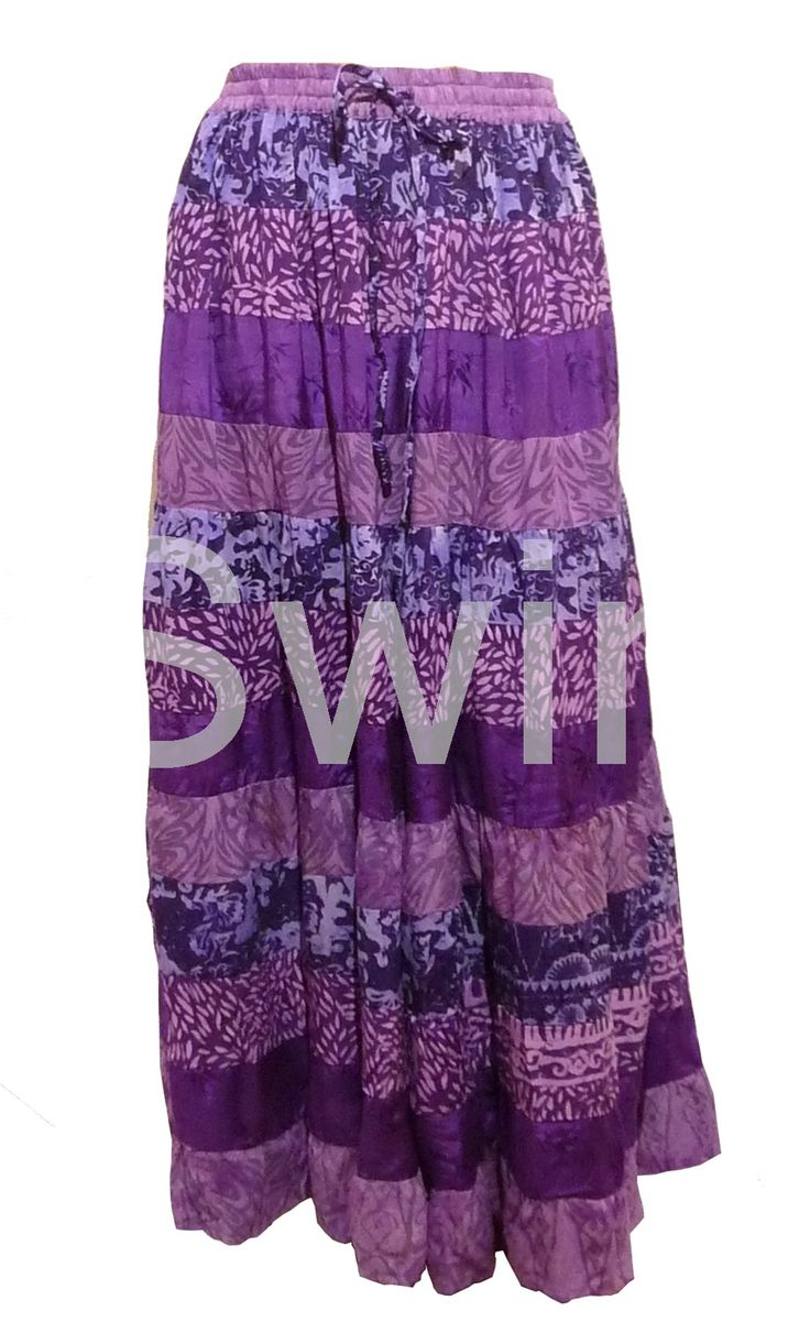 Tiered Peasant Maxi Skirt Purple 22 24 26