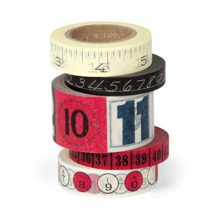 Cavallini - Tin of Adhesive Washi-Style Decorative Paper Tape - Numbers - 5 Rolls: Amazon.co.uk: Kitchen & Home