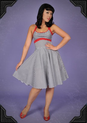 Gingham Swing Dress - £90.00 : Deadly Is The Female, Vintage inspired clothing & accessories for stunning starlets & burlesque beauties