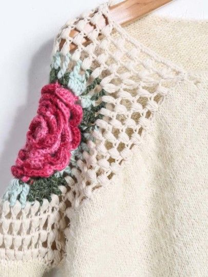 Jersey suelto cuello redondo Floral Crochet-crudo-Spanish SheIn(Sheinside) Sitio Móvil