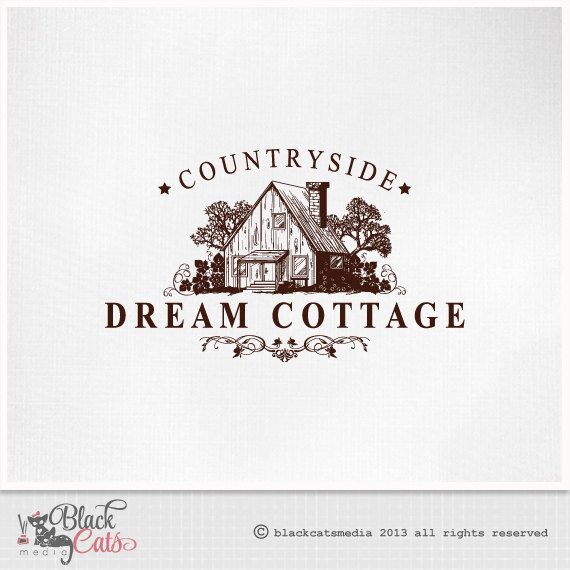 Vintage Countryside House Cottage  Logo Design  by BlackCatsMedia, $14.00