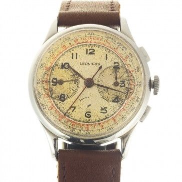 Leonidas chronograph watch with aging dial in 34 mm size. recommended for collectors.