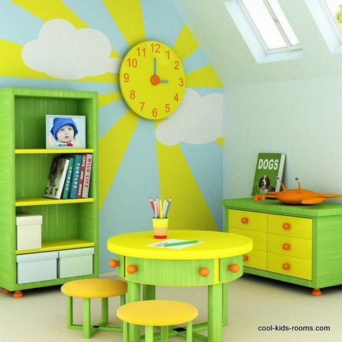 The bright colors of yellow, green, and blue create a calm but bright environment. This is perfect for a child's playroom so that they are creative but not crazy energized.