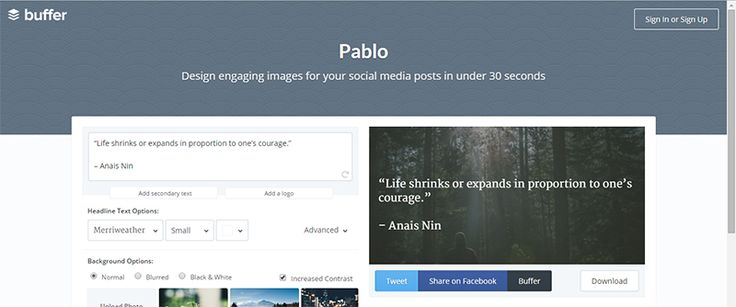 Pablo by Buffer / Design engaging images for your social media posts in under 30 seconds