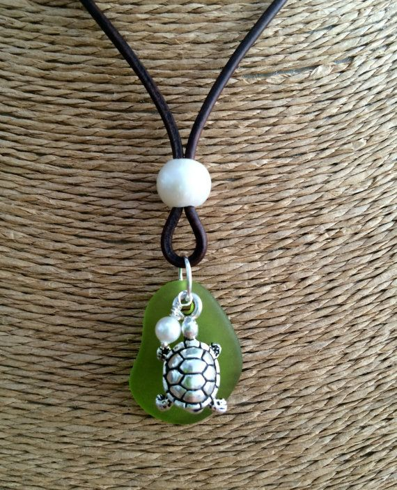 TURTLE and Green SEA Glass Leather & Freshwater Pearl Necklace