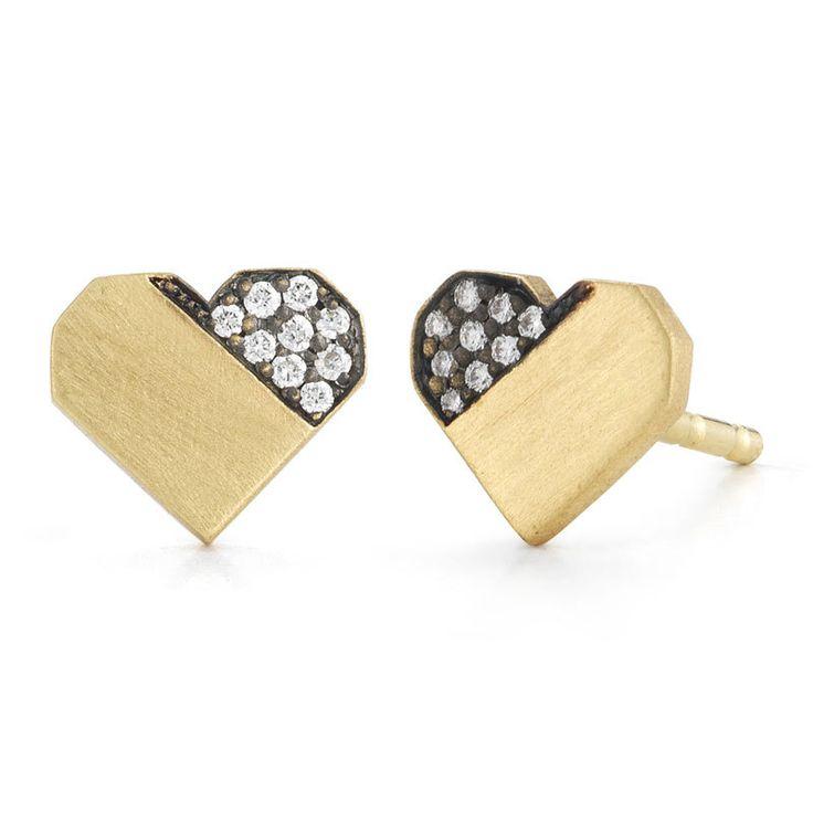 Jade Trau Diamond Heart Earrings - Greenwich Jewelers - http://www.greenwichjewelers.com