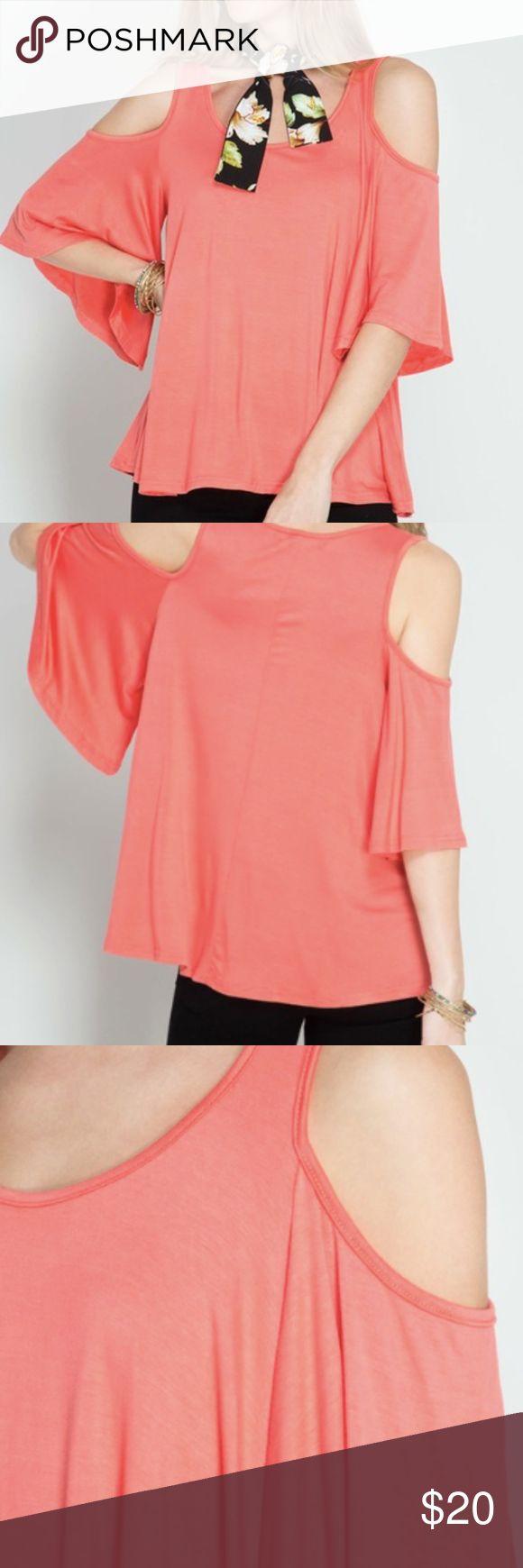 Coral Cold Shoulder Blouse Coral blouse with shoulder cut outs Tops Blouses