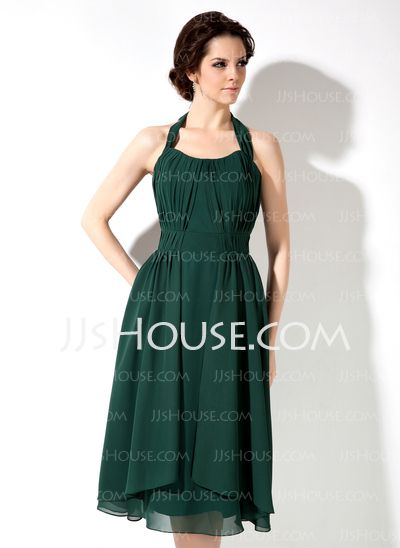 A-Line/Princess Halter Tea-Length Chiffon Bridesmaid Dresses With Ruffle (007001892) http://jjshouse.com/A-line-Princess-Halter-Tea-length-Chiffon-Bridesmaid-Dresses-With-Ruffle-007001892-g1892