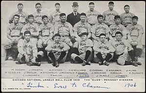 October 4, 1906  The Chicago Cubs win their 116th game of the season a team record that still stands (tied by the Seattle Mariner's in 2001).  The Cubs lose the World Series to the Chicago White Sox that year.   Photo from Chicago cubs 1906 season Wikipedia.