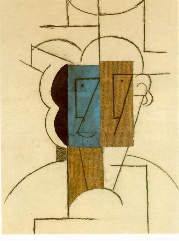 Head of a man with hat, 1912 Pablo Picasso - Style - Synthetic Cubism