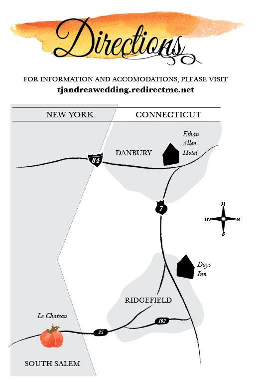 fall wedding stationary, direction map #fallwedding #invitation andreamariecreative.com