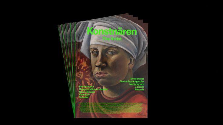 Utställningskatalog och kampanjmaterial för utställningen Konstnären, ett samarbete mellanModerna Museet, Nationalmuseum och Konstakademin som visats i Stockholm och nu i Malmö. Utställningen visar verk ur museernas samlingar, från 1500-talet till idag, och är uppdelad i fem kapitel som handlar om de roller som konstnären spelat genom tiderna: entreprenören, geniet,normbrytaren,visionären och resenären.