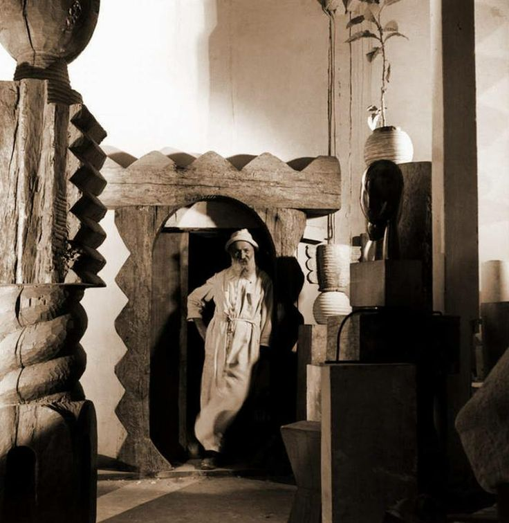 Constantin Brancusi (Romanian sculptor) in his studio - Less known, but essential to understanding his work, is the fact that the deep roots and inspiration for his sculptures can be found in the traditional folk sculpture created by peasant-artisans in the Romanian villages (including in the place where he was born). Some examples of this traditional sculpture can be seen here: (http://romaniamegalitica.blogspot.co.uk/2010/11/poarta-maramureseana-biblia-locurilor.html)