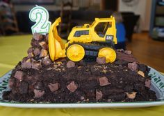 easy bulldozer cake for toddler's construction themed birthday party