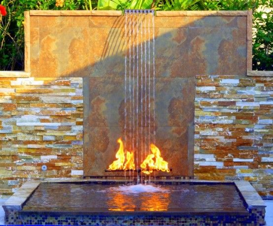 Garden, Fascinating Outdoor Water Walls Design Ideas With Charming  Fireplace Features Backyard Waterfalls Garden Waterfall Spaces Small  Fountains Pool ...