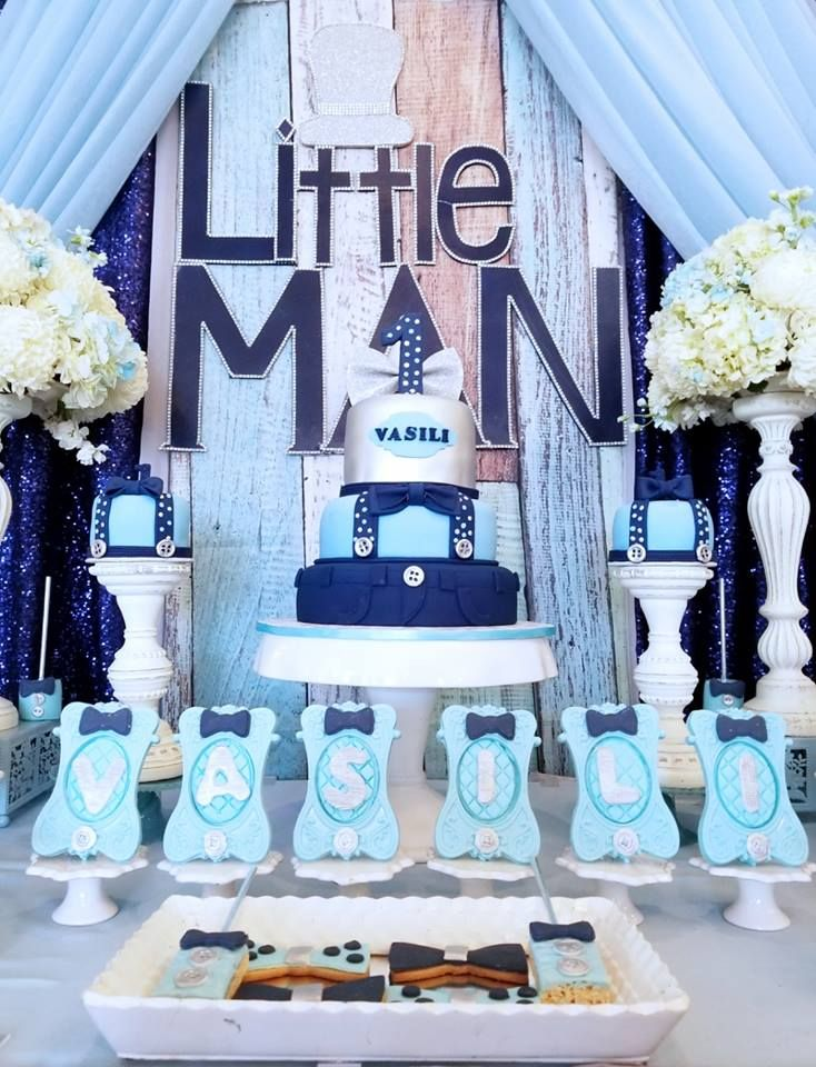 Blue And Silver Little Man S First Celebration With Images Boy