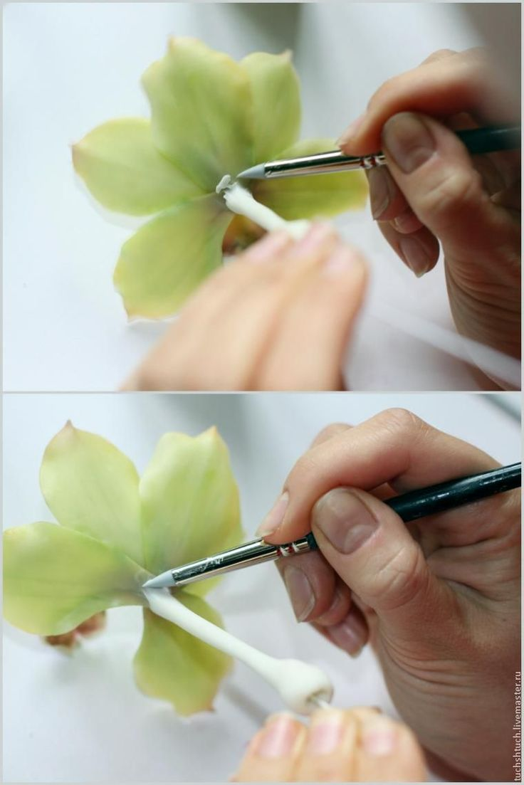 How to make a ring made of polymer clay with a decorative element in the form of an orchid flower, step by step photos and description