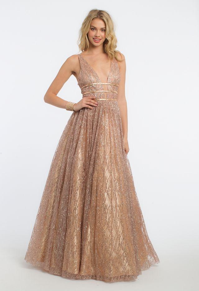 ca445fdfb682 Glitter Plunge Beaded Waist Dress Ball Gown Dress | Dresses | Prom ...