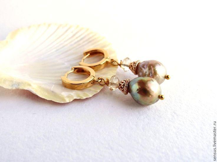 Купить Серьги с жемчугом касуми и цитрином Лаура, серебро позолота - золотой, жемчуг натуральный