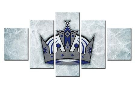 5 Panel Los Angeles Kings Hockey Framed Canvas Print Wall Art Home Decor