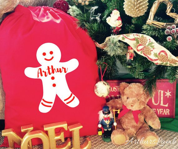Gingerbread Man Christmas Santa Sack,Christmas Sack,Personalized Santa Sack,Personalised Santa Sack,Christmas Stocking,Personalised Stocking