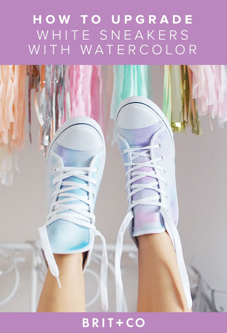 How to Upgrade Boring White Sneakers With Watercolor via Brit + Co