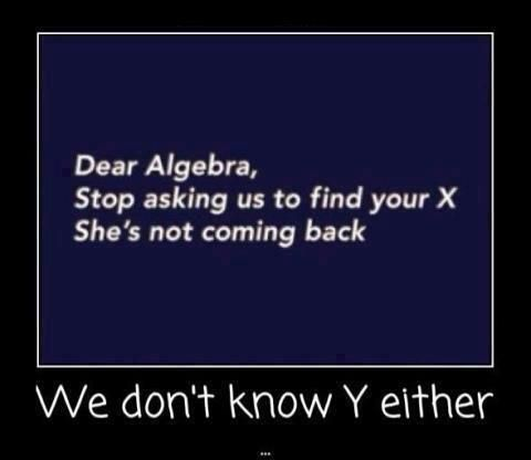 Considering I don't understand algebra they need to take the alphabet out and then it would make much more sense.