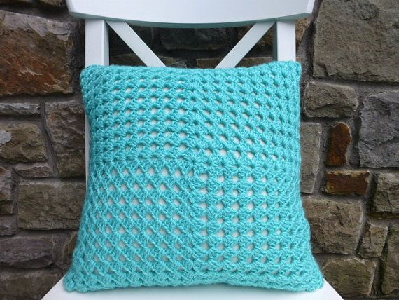 Crochet cushion cover sea blue green by BabanCat on Etsy, £25.00