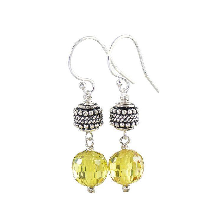 Yellow Cubic Zirconia bali style sterling silver earrings