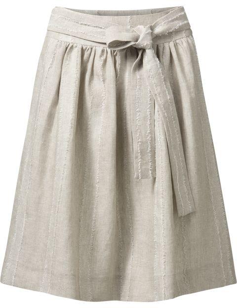 Purdey linnen rok met strik zandkleur