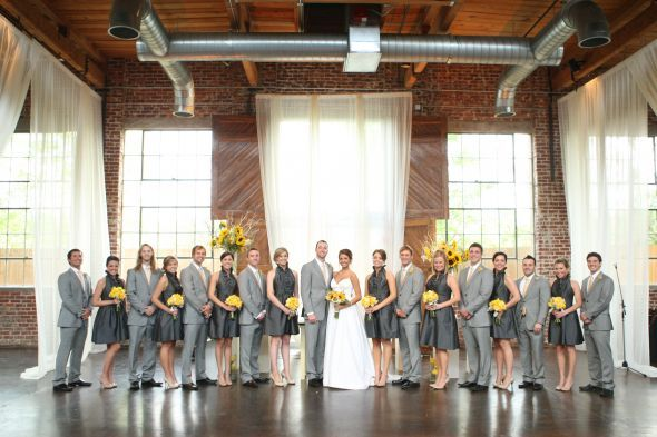 i was worried about grey bridesmaids with suit color on groomsmen. is this a go? Chase and I like this.