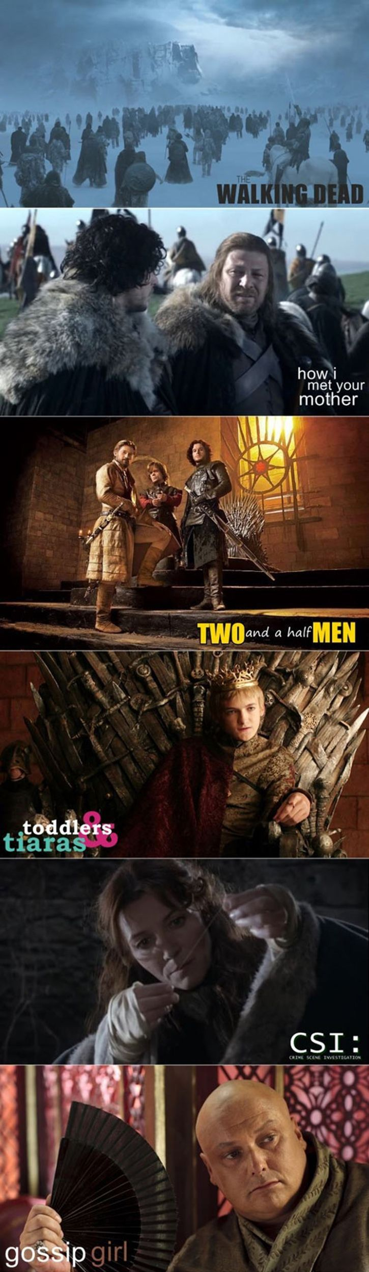 Game of Thrones reimagined as other popular TV shows. I laughed harder than I should have.