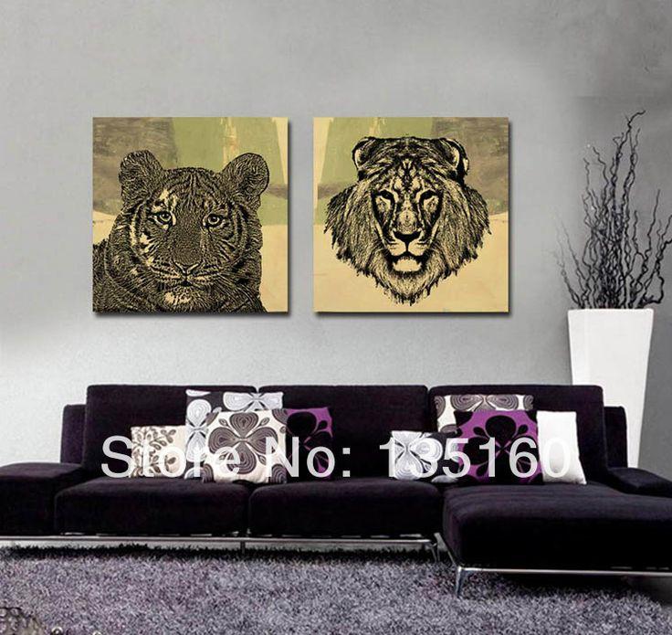 Современный гостиная абстрактный животных маслом отпечатки на холсте исследование Storerooms декоры эскиз тигр лев повесить картины