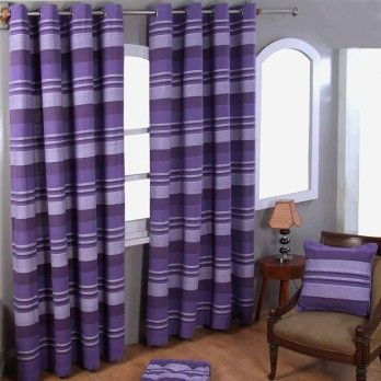 Cotton Morocco Striped Mauve Curtain Pair