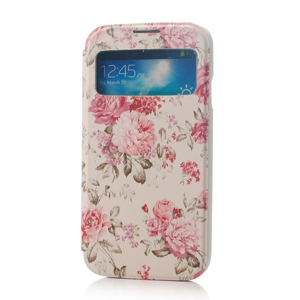 Fashion style Flip leather case for Samsung Galaxy S4 I9500 S view flower design handbag back cover free shipping-in Phone Bags & Cases from...