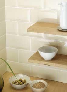 Bevelled Edge Brick Cream Wall Tiles10x20cm