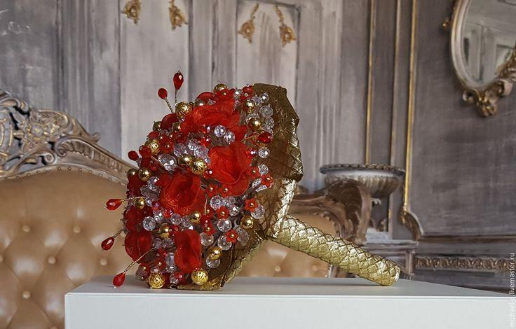 """Купить Букет """"RED"""" - ярко-красный, золотой, букет невесты, свадебный букет, свадьба"""