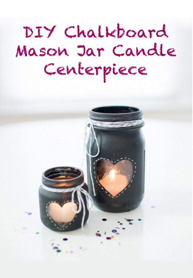 76 Crafts To Make and Sell - Easy DIY Ideas for Cheap Things To Sell on Etsy, Online and for Craft Fairs. Make Money with These Homemade Crafts for Teens, Kids, Christmas, Summer, Mother's Day Gifts. |  DIY Chalkboard Mason Jar Candle Centerpiece  |  diyjoy.com/crafts-to-make-and-sell