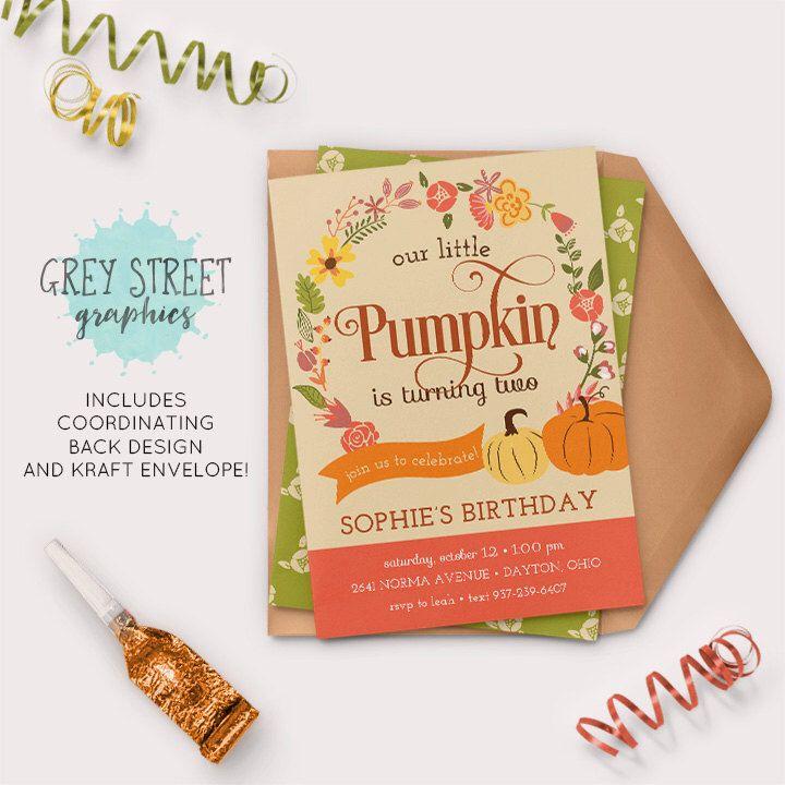 Little Pumpkin Birthday Party Invitations, Fall Autumn Little Girl Birthday Invitation, Flower Floral Custom DIY Printable Invitation by GreyStreetGraphics on Etsy https://www.etsy.com/listing/477072257/little-pumpkin-birthday-party