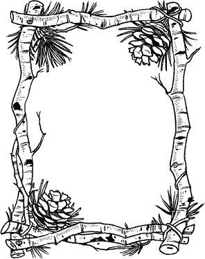 Birch & Pinecone Frame N-44 : Rubber Art-Stamps : Decorative Rubber Stamps : The Stampin' Place