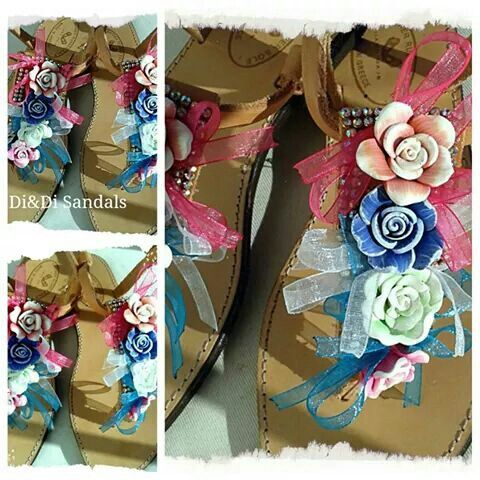 Leather decorated sandals