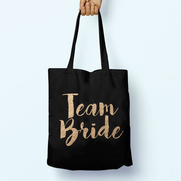House of Ollichon loves...Team Bride Black Tote Bag. #bridaljumpsuit #alternativeweddingdress #bridalwear #jumpsuit #bridesmaid #twopiece #mismatched #bridetobe #teambride