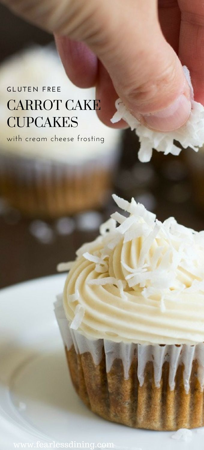 This moist and delicious gluten free carrot cake cupcake recipe is a family favorite. Creamy cream cheese frosting and just the right amount of coconut. This recipe also makes yummy gluten free carrot cake! Recipe at www.grandmasglutenfreerecipes.com #carrotcake #glutenfree #glutenfreecake