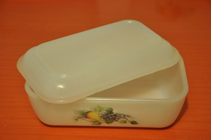Arcopal butter dish. Fruits de France pattern