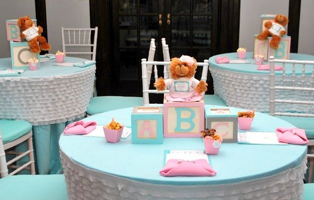 Like these table linens for baby shower or other colors for other types of events