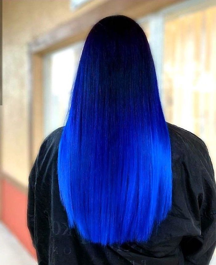 Ombre Hairstyles Black To Dark To Light Blue Hair Long Straight Hair In 2020 Blue Ombre Hair Medium Length Hair Styles Straight Hairstyles
